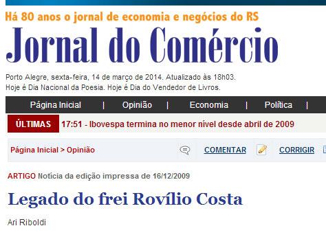 Artigo sobre Frei Rovílio Costa (Jornal do Comércio)