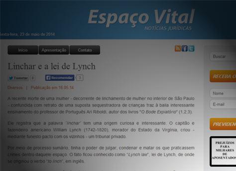 Linchar e a lei de Lynch (Espaço Vital)