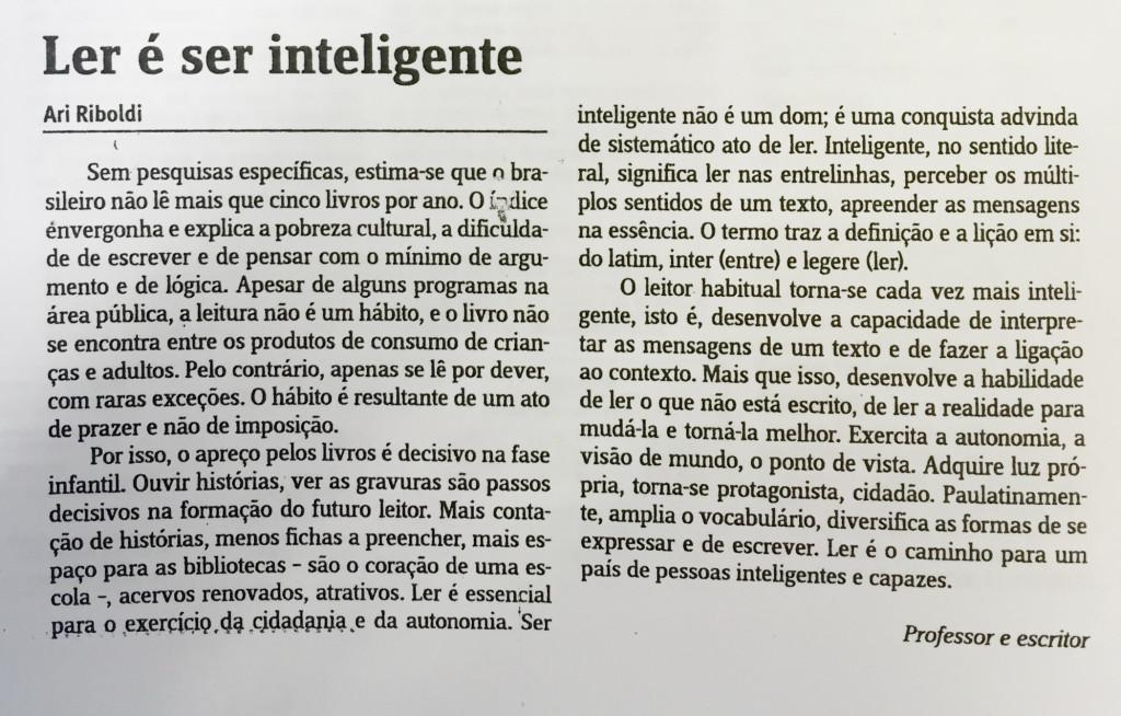Ler é ser inteligente